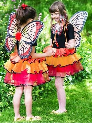 Girls Monarch Butterfly Fairy 3 Piece Carnival Fancy Dress Costume Outfit 3-8yrs