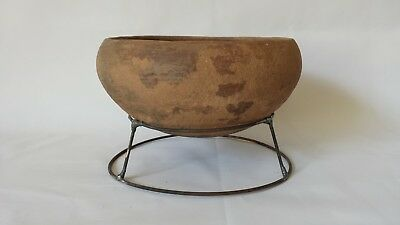 Neolithic South East Asian Footless Terracotta Food Bowl w Stand 7""