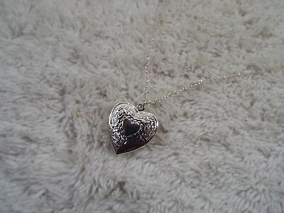 Silvertone Etched Heart Locket Pendant Necklace (C75)