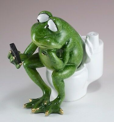 "Frog Texting On Toilet Figurine 4.75"" High Resin New In Box!"