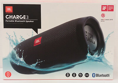 JBL Charge 3 Waterproof Portable Bluetooth Speaker (Black) Wireless stereo NEW