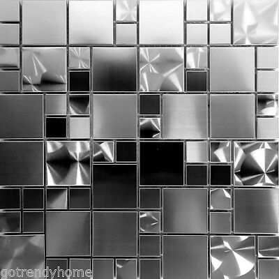 ABOLOS X Real Mirror Peel And Stick Backsplash Tile Pcs - 4x4 stainless steel tiles