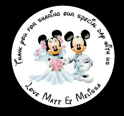 105 x Personalised Stickers Mickey & Minnie Wedding  Round Favour Labels