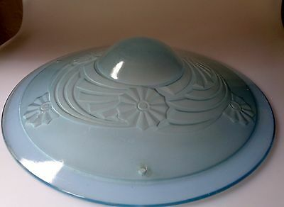 French Czech Art Deco Flycatcher Blue Frosted Glass Light Shade Only No Fixture
