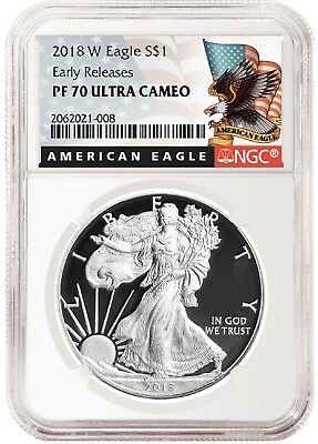 2018 W Silver Eagle Proof NGC PF70 UC - Early Releases - Black Label