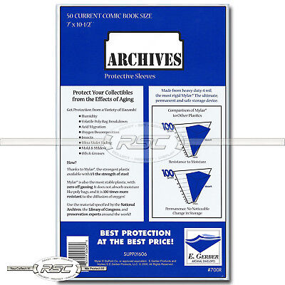 50 - E. Gerber ARCHIVES CURRENT 4-Mil Comic Book Mylar Sleeves - 700R