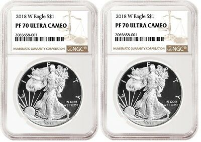 2018 W Silver Eagle Proof NGC PF70 Ultra Cameo - Brown Label - 2 pack