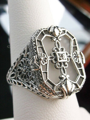 Camphor Glass Solid Sterling Silver 1930's Art Deco Design Filigree Ring Size 7