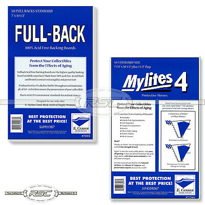50 - E. GERBER FULL-BACK & MYLITES 4 STANDARD Mylar Bags & Boards! 700FB/725M4