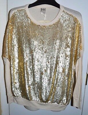 ec1f58838f465 NWT HAUTE HIPPIE Gold Sequin Sweater Shirt Top Size Small Retail  595 DEVINE