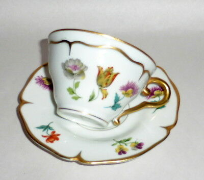 Vintage Made in France Porcelain Spring Flowers on White Teacup & Saucer