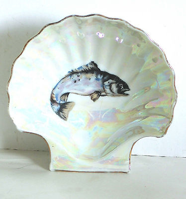 Shell Shape Porcelain Soap Dish Notions Tray with fish Nautical Decor FREE SH