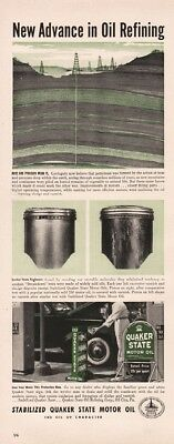 1941 Quaker State Motor Oil City PA Oil Well Derrick Refining Vintage Print Ad