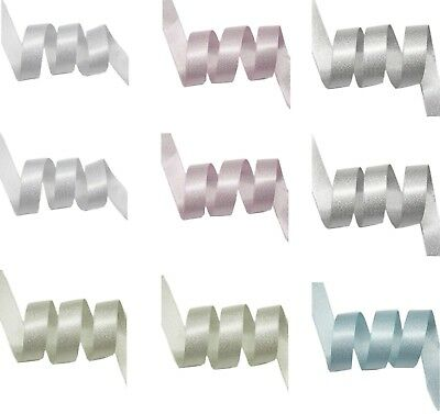 "9mm 3/8"" 16mm 5/8"" Silver Glitter Double Sided Satin Ribbon Eco Quality"