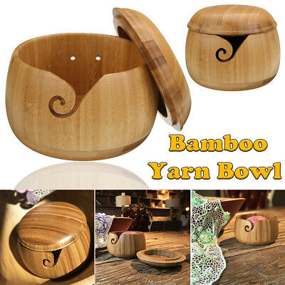 Wooden Bamboo Yarn Bowl Holder + Lid Cover For Yarn Skeins Knitting Crochet