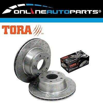 2 Front Dimpled+Slotted Disc Rotors+ Set Brake Pads V6 V8 Holden Commodore VR VS