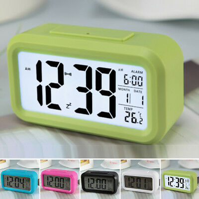 Digital Snooze LED Travel Alarm Clock Backlight Time Calendar Temperature Tools