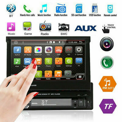"Single 1DIN 7"" HD Flip Up Touch Bluetooth Car Stereo Radio MP5 MP3 Player FM/USB"