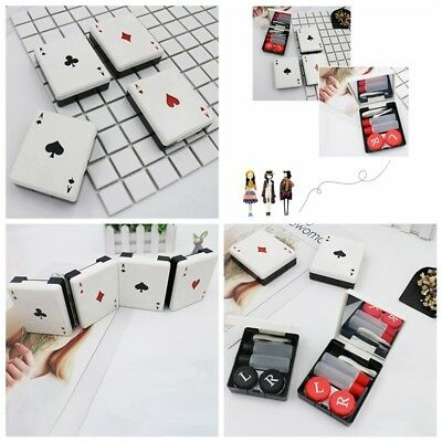 Playing Card Style Travel Kit Storage Contact Lens Case Container Holder Box 7cm