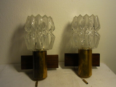 Pair Mid Century 60´s Brass Teak Glass Sconces By KAISER #O/G