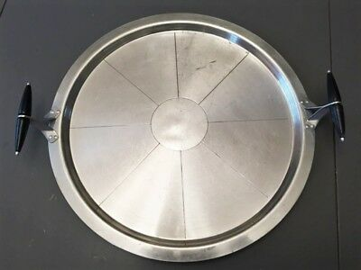 Vintage Pizza, Cake,  Aluminum Round Cookware Serving Pan with Wood Handles