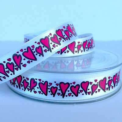 Lovely Valentines Small Heart Ribbon Pink & White 15 mm Wide Sold Per Metre