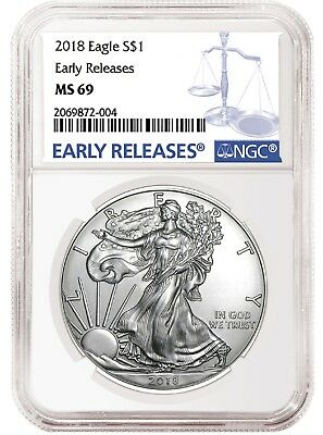 2018 1oz Silver American Eagle NGC MS69 Early Releases Blue Label - In Stock