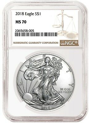 2018 1oz Silver American Eagle NGC MS70 Brown Label - In Stock