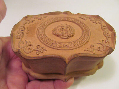 *Antique Terra Cotta Match Safe Striker Box Mythological Face Greek Key Design