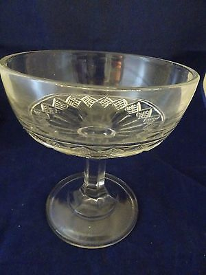 "Vintage Depression Era Clear Glass Compote-6 3/4"" High-Diamond Pattern"