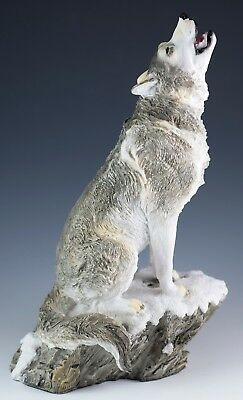 """Wolf Howling Figurine Statue Resin 9"""" High - Highly Detailed - New In Box"""