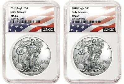 2018 1oz Silver Eagle NGC MS69 Early Releases Flag Label 2 Pack