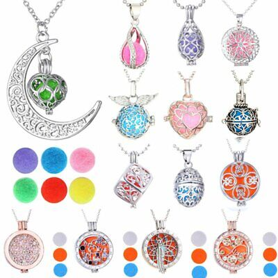 Aromatherapy Essential Oil Diffuser Pendant Locket Necklace Charm + 6Pcs Balls