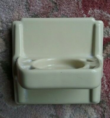 Vintage MID CENTURY MODERN Yellow PORCELAIN 4 INCH TILE CUP TOOTHBRUSH  INSERT
