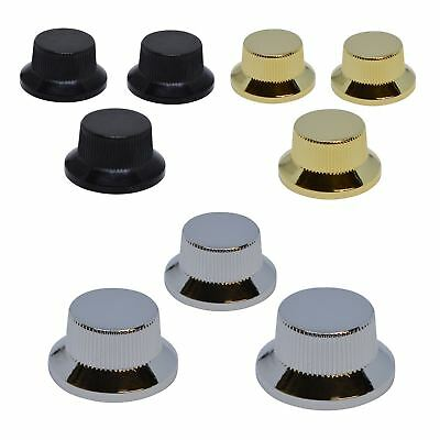Set of 3 Chrome Metal UFO Control Knobs For Stratocaster Push-fit Volume & Tone