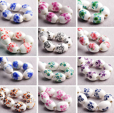 10pcs 18X12mm Oval Flower Patterns Ceramic Porcelain Loose Spacer Beads Findings
