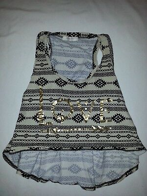 Four Girlz Junior's White/black Patterned Graphic Crop Tank Top L Very Nice!(C)