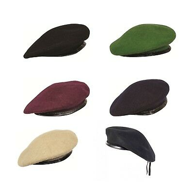 New British Army Type Officers Wool Mens Ladies Beret Hat Cap Lined Leather Band