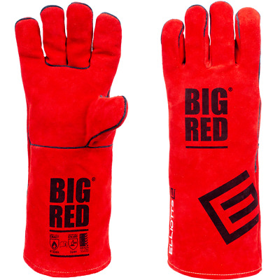 5 Pair SML Genuine BIG RED Welding Gloves Denim lined Leather gloves Small Size