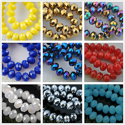 10/50pcs 12mm Rondelle Faceted Crystal Glass Loose Spacer Beads Charms Wholesale