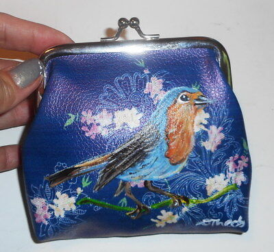 Robin Bird Hand Painted Coin Purse Mini Wallet