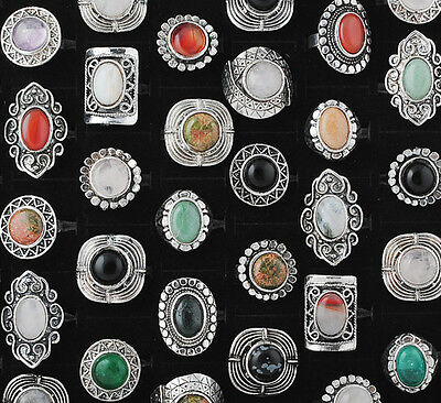 5Pcs Lots Color Stone Tibet Tibetan Silver Ring Vintage Style Adjustable Ring