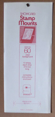 SHOWGARD STAMP MOUNTS 60mm CLEAR Pack of 10 Strips 210mm x 60mm