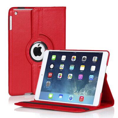 360 Rotating Stand Folio PU Leather Case Smart Cover For iPad Air 5th Gen Red