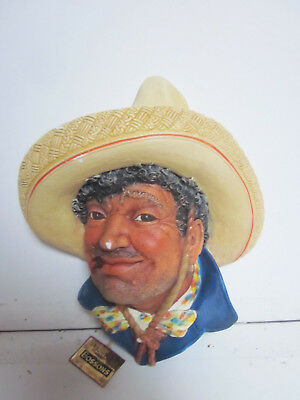 Vintage Hand Painted Bossons Pancho Villa Wall Decoration
