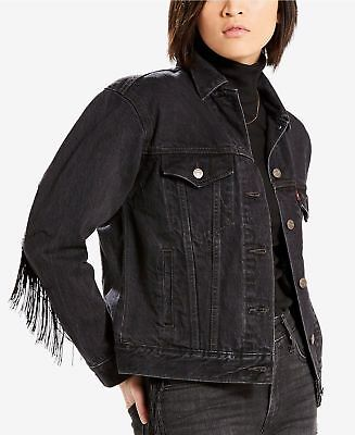 Nwt Women Levi's Black Fringe Denim Jeans Ex Boy- Friend Trucker Western Jacket