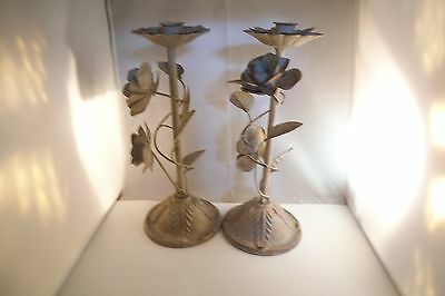 Lovely Pair of Metal Candle Holders Flower Roses