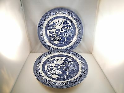 Vintage Churchill England Blue Willow Pair of Dinner Plates Plate