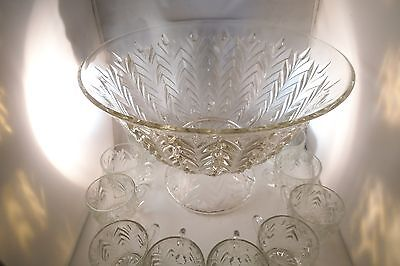 Vintage Jeannette Clear Glass Feather Punch Bowl Set & 10 Cups