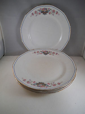 Vintage Lot of Four American Limoges China Sebring Dinner Plates Flower Urn